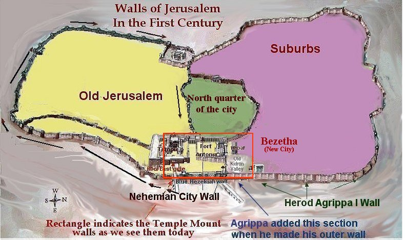 Yellow area would have been thecity walls in the time of Nehemiah.